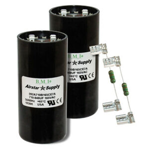 (2) PACK , 710-848 UF MFD HVAC Motor Start Capacitors 165 VAC VOLT & Resistors