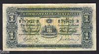 Australia R-21. 1918 Cerutty/Collins - One Pound.. B Prefix, R Suffix..  aVF