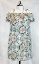 Maternity a:glow Babydoll Dress Blue Print Off-Shoulder Size MEDIUM (8-10)