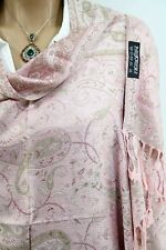 Pale Pink Double Side Colored Floral Design Cashmere Pashmina Shawl Scarf Shawl