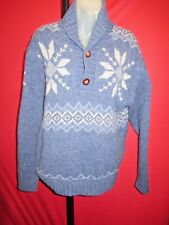PENDLETON men's100% Wool Blue Snowflake Ski Sweater Snow Board Sz L Big Lebowski