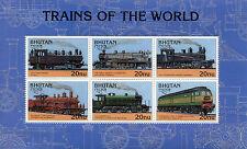 Bhutan 1996 MNH Trains World 6v M/S II Railways Züge Trenes Treni Chemin de Fer