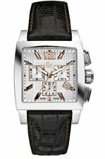 GUESS COLLECTION GC SWISS MADE BLACK LEATHER BAND STRAP RECTANGLE WATCH G35005G1