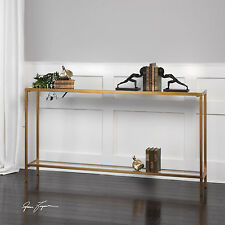 """NEW 60"""" ANTIQUED GOLD LEAF METAL SOFA CONSOLE HALL TABLE INSET GLASS TOP SHELF"""