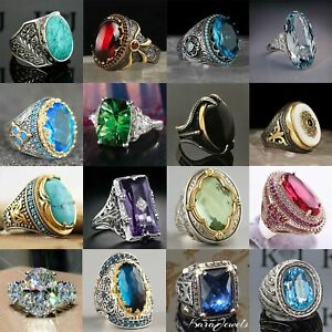 Fashion Women 925 Silver Jewelry Wedding Rings Oval Cut Turquoise Ring Size 6-13