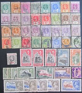 CEYLON GEORGE V, 50 ASSORTED STAMPS. UNCHECKED FOR SHADES & WATERMARKS.