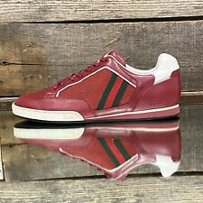$690 Men's Red Gucci Ace Low Leather/ Mesh Sneakers w/white Trim sz 8.5G w/box