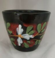 Vintage Italian Pottery Planter handpainted Black Floral Design Italy Vase Pot
