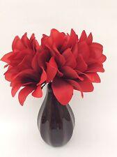 Silk/Artificial Flower Arrangement In Vase: Red Dragon Flowers/Black Vase