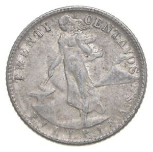 Roughly Size of Nickel 1945 Philippines 20 Centavos World Silver Coin *652