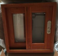 SLIDING WINDOW TIMBER, SOLID CEDAR WINDOW, 600x 600, 6MM GLASS, WITH FLY SCREEN