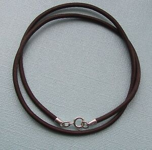 MEN'S 3mm BROWN LEATHER NECKLACE WITH 925 STERLING SILVER FINDINGS FREE GIFT BOX