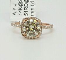 14k Rose Gold 1.91Ct Genuine Round Diamond & Moissanite Engagement Ring