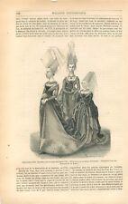 Costume médiéval Style Charles VII Robe Femme Michelle de Vitry  GRAVURE 1847