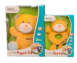 Teddy Plush Bear and Rattle, Suitable from 3+months  Gift Present Baby BNIB