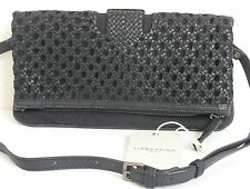 Liebeskind Berlin Aloe B Convertible Cross Body Bag Black Woven Leather Cotton