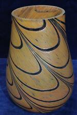 "Vintage Iridescent Gold Pulled Loop Art Glass Vase Teleflora 7"""