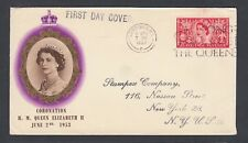 Uk 1953 Coronation First Day Cover & Content London To New York