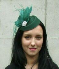Bottle Dark Green Silver Feather Pillbox Hat Hair Clip Fascinator Races 7294