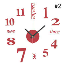 DIY Analog 3D Mirror Surface Large Number Wall Clock Stickers Modern Home-Decor