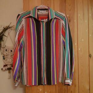 Rainbow striped vintage shirt 🌈 Brand is Black Jack, Roma size L uk 14 16 18