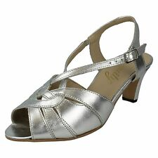 LADIES EQUITY SLING BACK BUCKLE LEATHER PEEP TOE WIDE FIT DANCE SANDALS SARAH