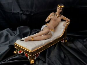 LARGE 24k Gold MARCO GINER NUDE EGYPTIAN QUEEN Glazed & Bisque Porcelain *signed