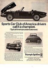 1971 TRIUMPH SPITFIRE MARK IV  ~  CLASSIC ORIGINAL PRINT AD