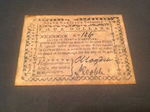 $4 North Carolina Currency banknote dated 1778