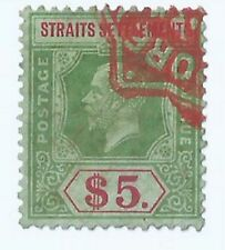 Stamps - 1912-33 Malaya Straits Settlements George V $5 Revenue stamp duty Used