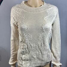 Anthropologie Angel of the North sweater size XS extra small lace OAtmeal