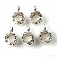 100pcs Flower Loop Bail Tibetan Silver Charms Pendant European Beads Bracelets J