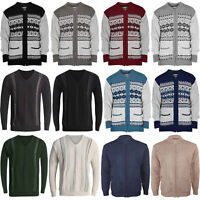 MENS CLASSIC CARDIGAN  DESIGN ZIP THICK WARM SWEATER  JUMPERS WINTER JUMPER