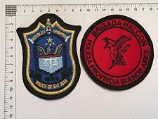 2 ORIGINAL POLICE SWAT HALCON SAN JUAN PATCHES COLLECTION PATCH ARGENTINA 80s90s
