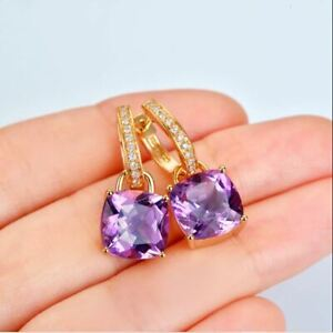 4Ct Cushion Cut Amethyst Solitaire Drop & Dangle Earrings 14K Yellow Gold Over