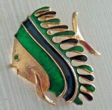 and Green Enamel Gold Tone Setting Tropical Fish Pin Brooch Large Blue