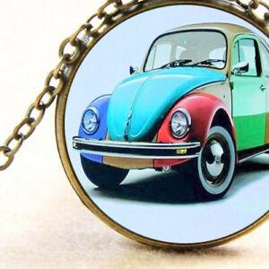 Vw Volkswagen Beetle Inspired Pendant Necklace, Multi-Colour Hippy Retro Car