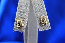 18K Yellow Gold Teddy Bear Stud Earrings 4.71 Grams