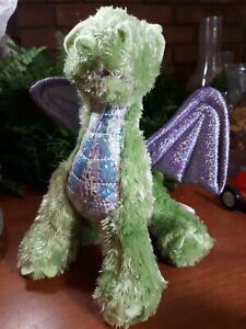 Melissa And Doug Green Purple Wings Zephyr Dragon Stuffed Animal Plush princess