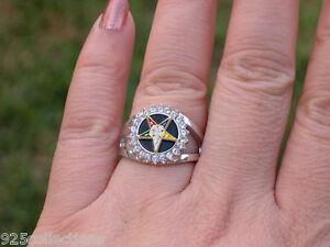 Order of the Eastern Star Clear CZ Stone Black Onyx Rhodium Lady Ring Size 5