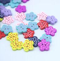 150PCs Wood Buttons Sewing Scrapbooking Flower Dots Mixed 15mmx14mm H005