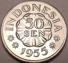Gem Unc Indonesia 1955 50 Sen~Last Year Ever Minted This Type~Free Shipping