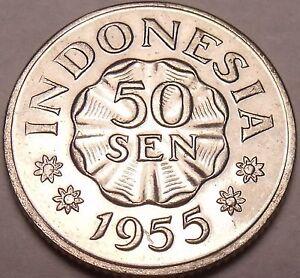 Gem Unc Indonesia 1955 50 Sen~Last Year Ever Minted This Type