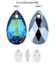 Genuine SWAROVSKI 6106 Pear Pendant Crystal Bermuda Blue 16mm