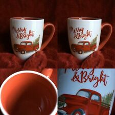 "Red Pickup Truck Christmas Mug Coffee Tea Kitchen 2 Set Farmhouse 3.5""x5"