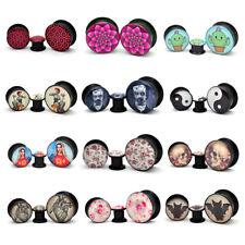 Pair of Black Acrylic Screw On Picture Plugs gauges Choose Your Design/Size