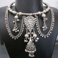Statement Necklace Bib Choker Vintage Gypsy Kuchi Tribal Boho Fashion Jewelry