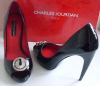 CHARLES JOURDAN CJ Designer France Black Peep Toe Pumps Heels Court Shoes EU 38