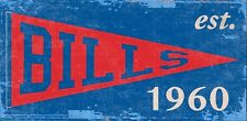 "Buffalo Bills Heritage Pennant Established 1960 Wood Sign - NEW 12"" x 6"""
