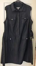 Established 1962 Size 18 Woman Casual Career Pleats Dress In Blue Chambray